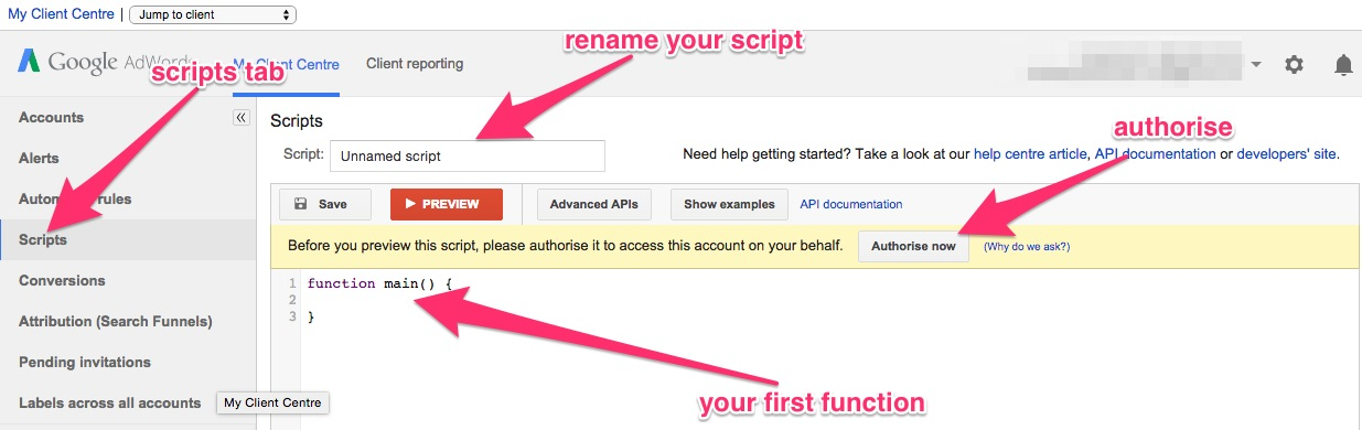 First AdWords function