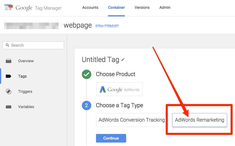 AdWords Remarketing tag