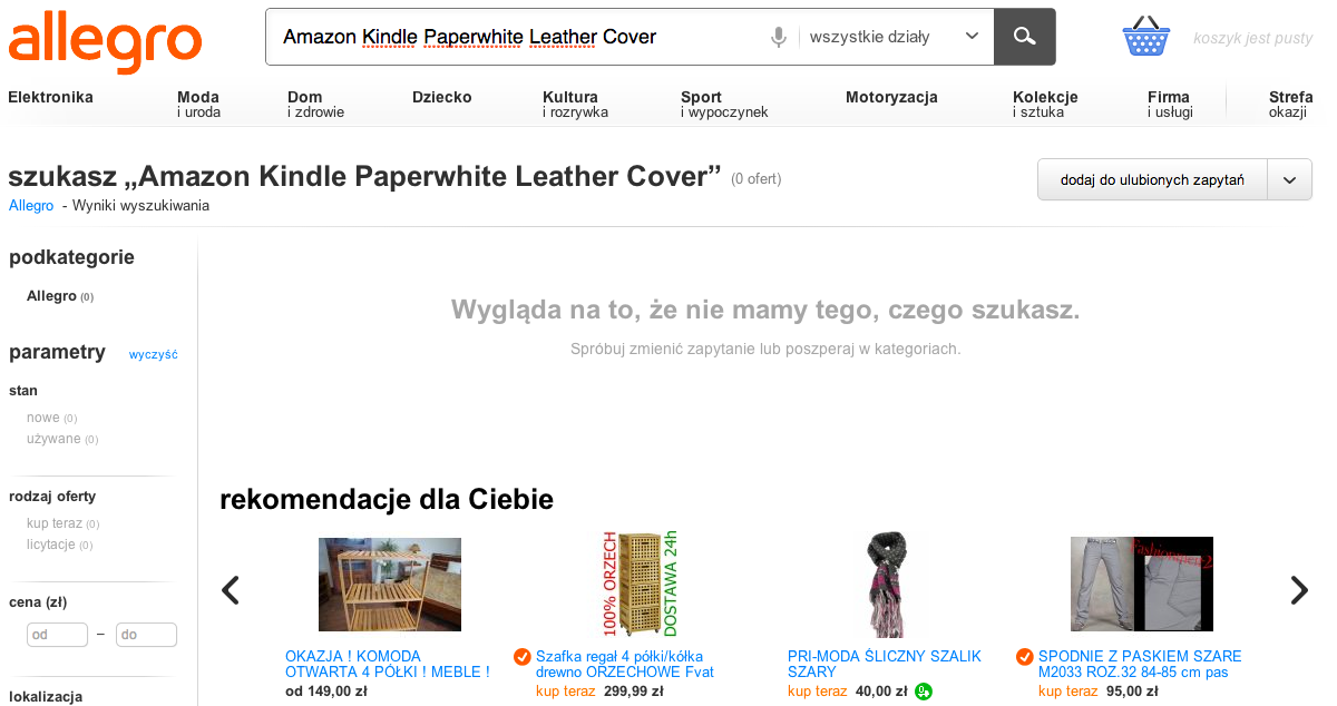 Amazon Kindle Paperwhite Leather Cover na allegro