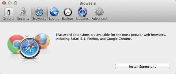 1password - wtyczki do przeglądarek