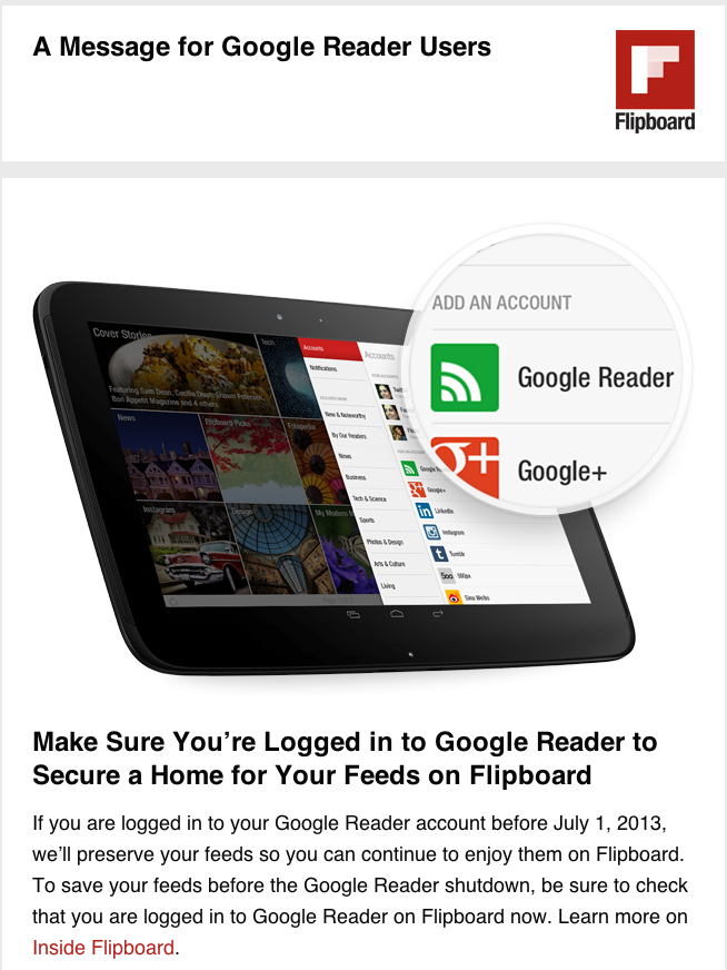 A Message for Google Reader Users