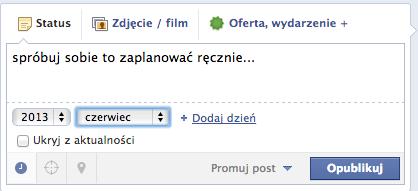 Planowanie wpisów z FB