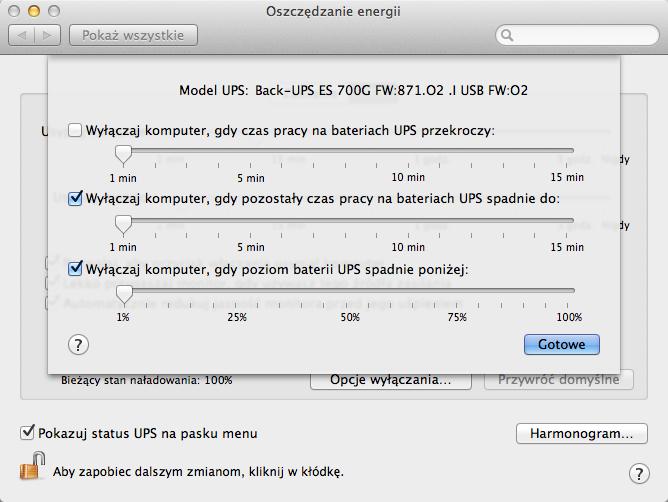 Preferencje systemowe - APC Back-UPS ES 700VA (BE700G-CP)