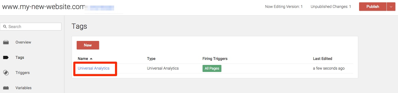 Google Analytics tag - tag is ready